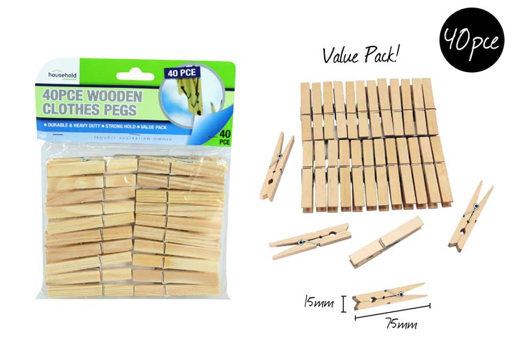 40pk Wooden Clothes Pegs