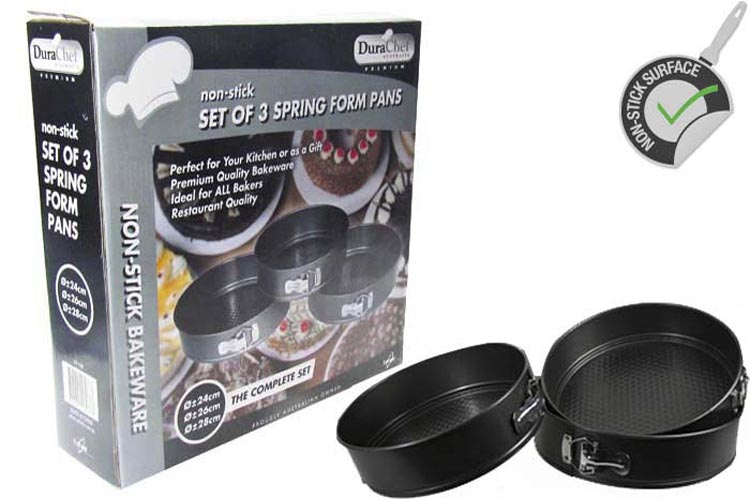 Set of 3 Spring Form Non-Stick Pans