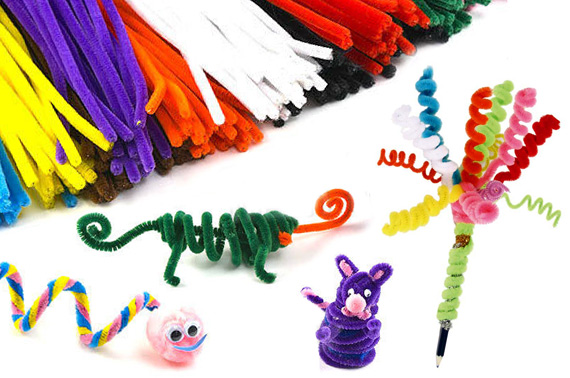 60x Chenille Sticks for Craft - Assorted Colours