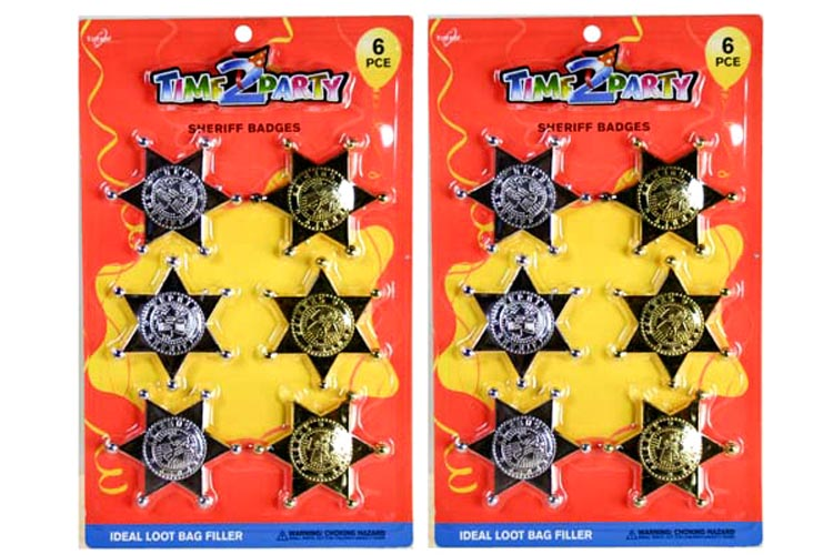 6pc Toy Sheriff Badge Pack