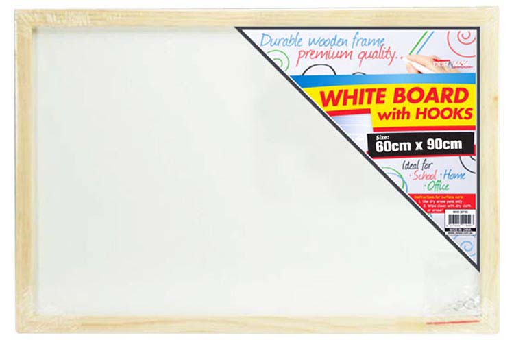 60x90cm White Board with Hooks