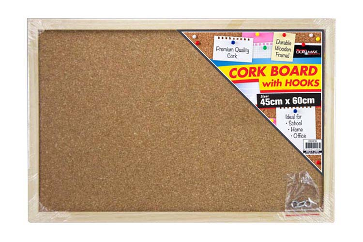 45x60cm Cork Board with Hooks