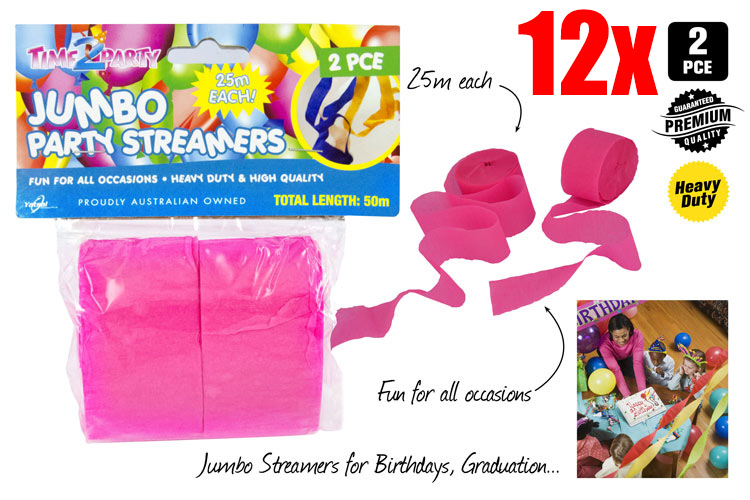 12x 2pc Jumbo Party Streamer - Random Colour