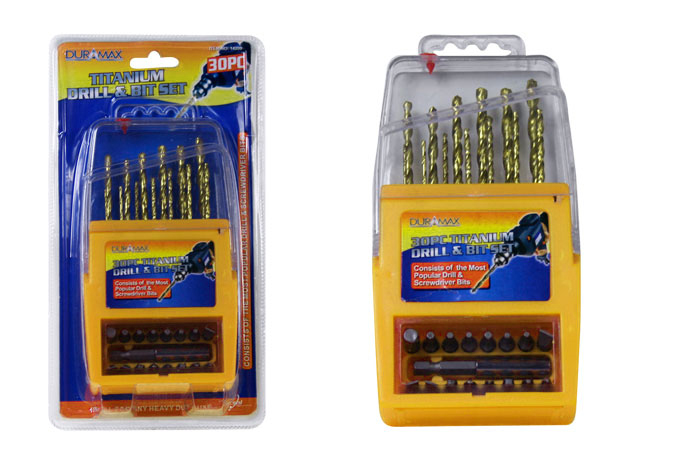 30pc Titanium Drill & Bit Set