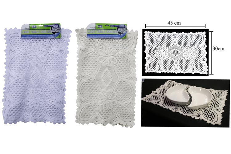 2pc Lace Table Doily Set