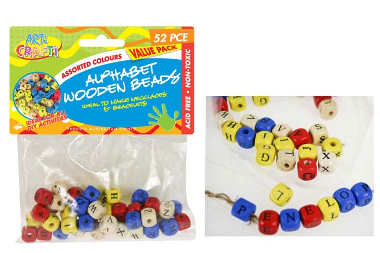 2x 52pc Alphabet Wooden Bead Pack