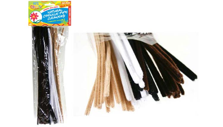 50pc Natural Colour Chenille Pipe Cleaner Set