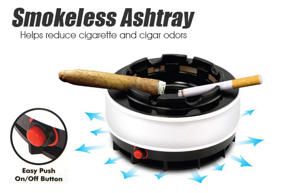 Battery Operated Smokeless Ashtray - Built In Carbon Filter