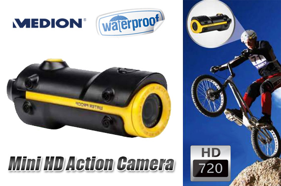 Refurbished MEDION Waterproof Mini HD Action Camera - S47008 (MD 86692)