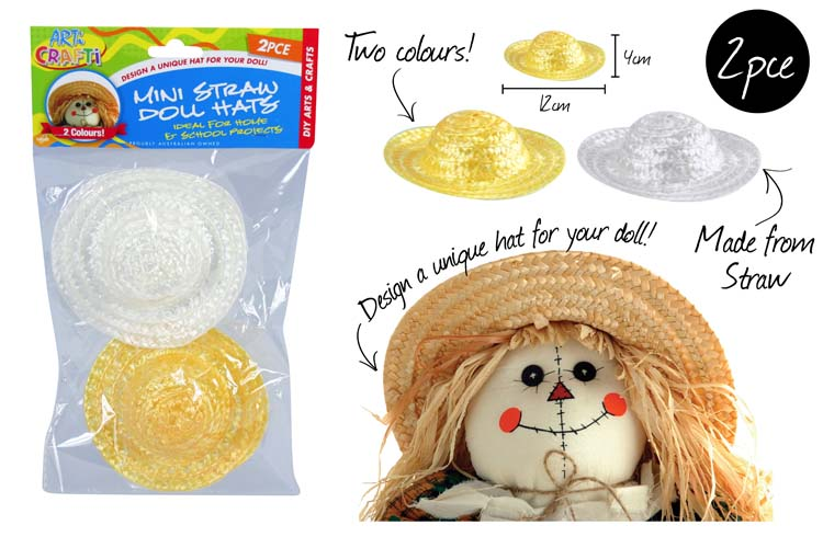 2pc Mini Straw Doll Hat Set