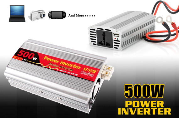 500W Power Inverter for Car, DC 12V to AC 220V and 5V USB Output