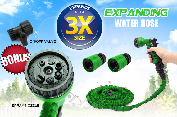 Expanding Garden Water Hose with Bonus Spray Nozzle & On/Off Valve