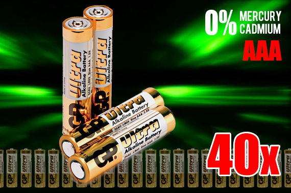40x GP Ultra AAA 1.5V Alkaline Battery