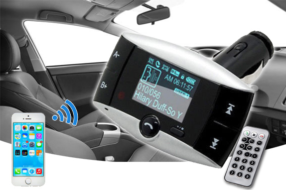 Bluetooth Hands Free Car Kit & FM Music Transmitter with Remote
