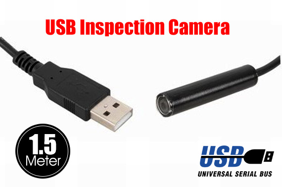 USB Mini Inspection Camera with 1.5m Flexible Cable