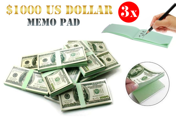 3x $1000 US Dollar Memo Notepad