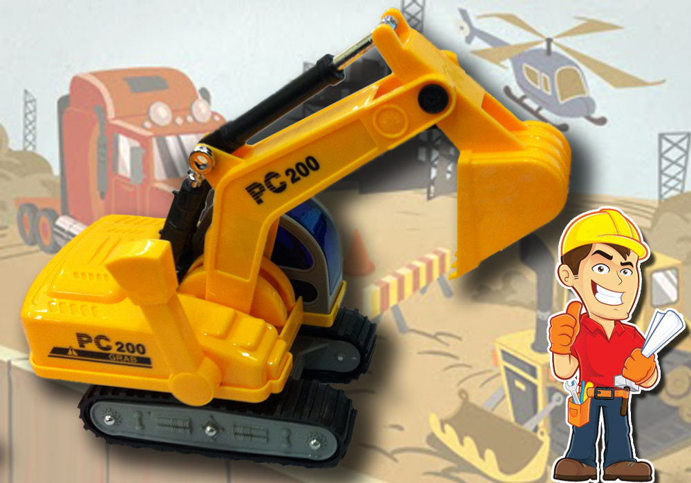 Toy Engineering Team - Excavator with Movable Scoop