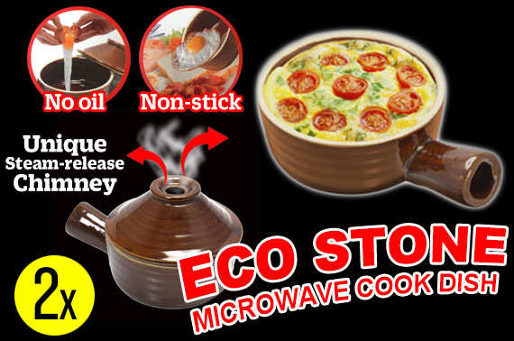2x Non-stick Ceramic Microwave Cooking Pot with Lid