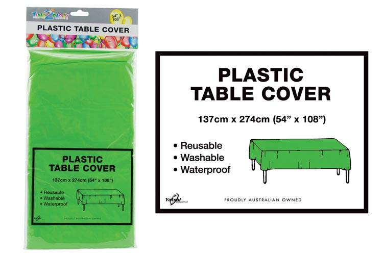 Plastic Table Cover - 1.4x2.7M-Green