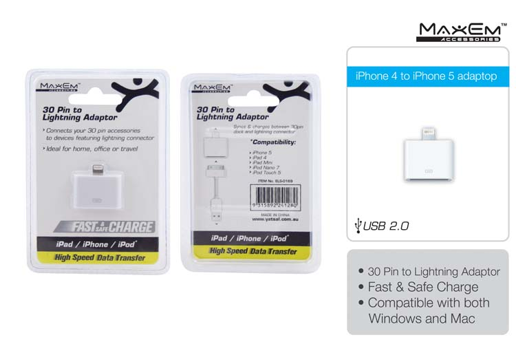 iPhone 4 to iPhone 5/6 adapter (Data/Power)