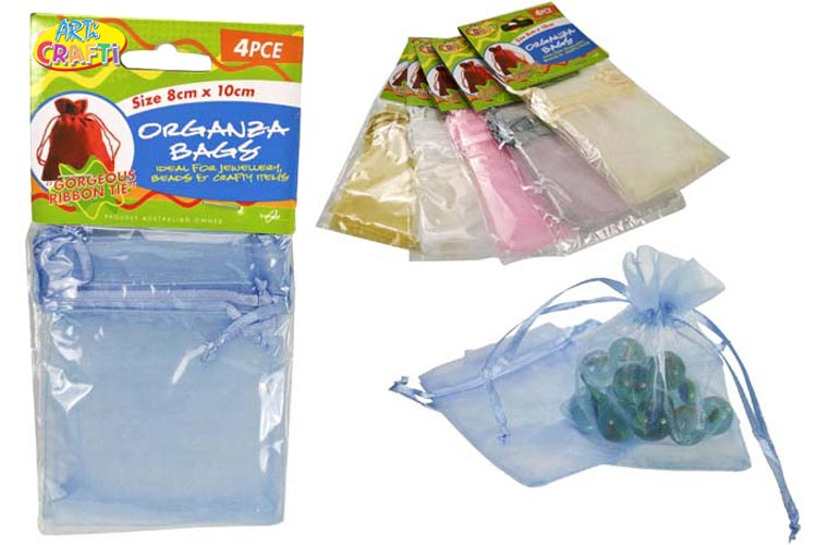2x 4pc Organza Bag Set - 8x10cm