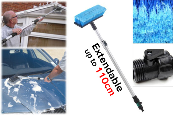Telescopic Car Wash Brush with Water Nozzle