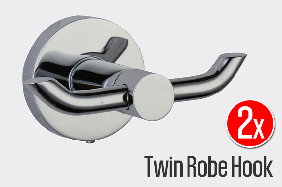 2x Bathroom Twin Robe Hook - Brass / Chrome Plated Finish