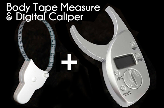 Retractable Body Fitness Measuring Tape + Digital Fat Caliper Combo Pack