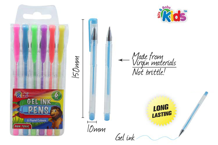 6pc Gel Ink Pen Set - Assorted Colours