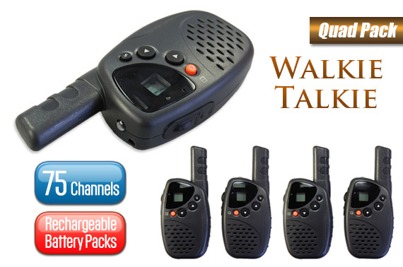 75 Channel UHF Walkie Talkie Rechargeable Quad Pack