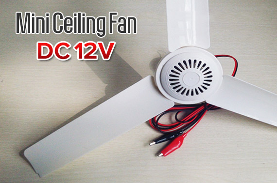 3 Blade 12V Mini Ceiling Fan with On/Off Switch