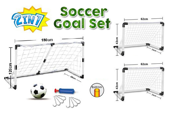 2 in 1 Soccer Goal Set w/ Ball & Pump for Kids