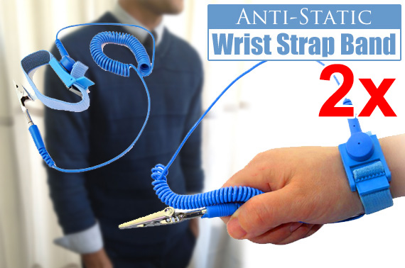 2x Anti-Static Wrist Strap Band with Grounding Wire