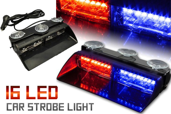 16 LED Red/Blue Car Emergency Strobe Flashing Light