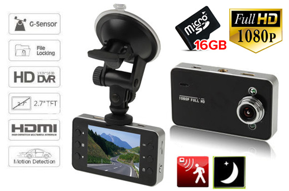 16GB 1080p Full HD Dash DVR Car Crash Camera
