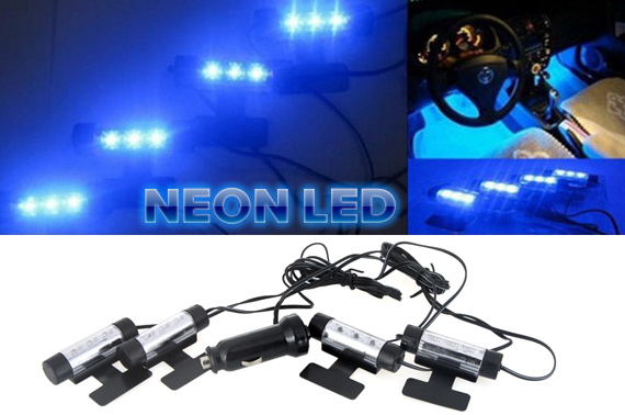 4x 3 LEDs 12V Car Interior Glow Decorative Blue Neon Lights