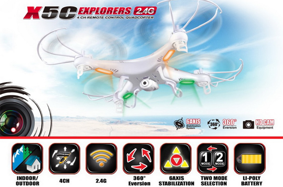 Syma X5C Explorers 2.4G 4CH RC Quadcopter with HD Camera