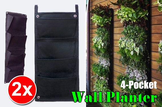 2x 4-Pocket Hanging Vertical Garden Planters