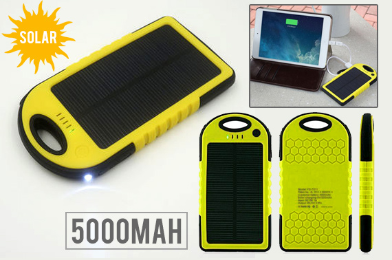 5000mAh Portable Waterproof Power Bank w/ Solar Charger