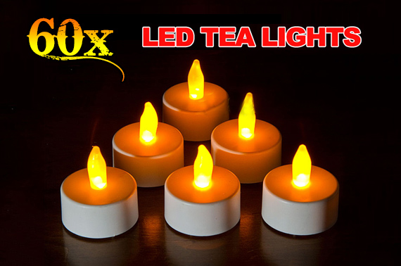 60x LED Flameless Tea Light Candle with Batteries