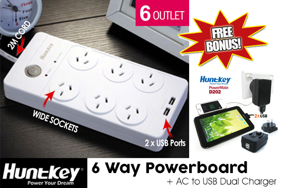 Huntkey 6 Outlet Surge Protected Powerboard with 2 USB ports w/ Bonus AC to USB Dual Charger