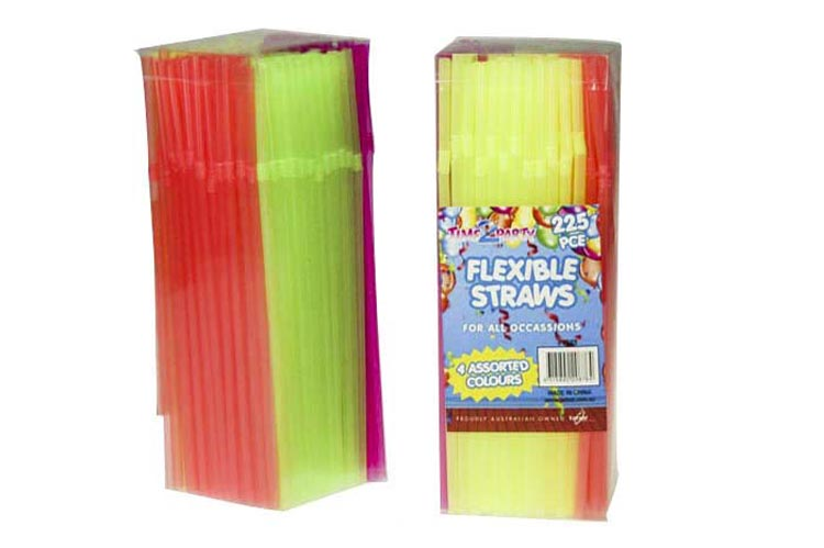 225pce Flexible Coloured Straws-20cm