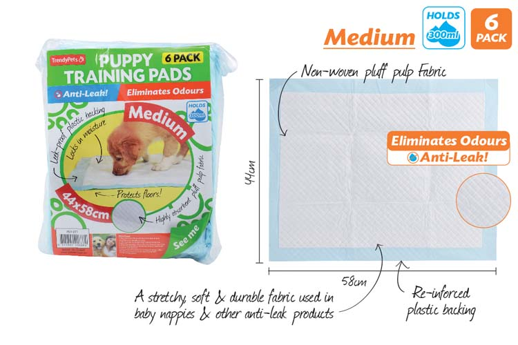 6pce Puppy Training Pads-44x58cm-Medium