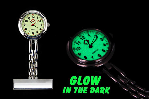 Nurse Chain Glow in Dark Brooch Pocket Watch