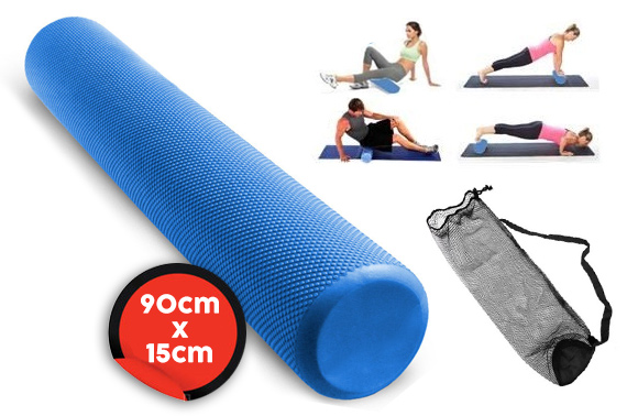 90x15cm Yoga Exercise EVA Foam Roller w/ Carry Bag