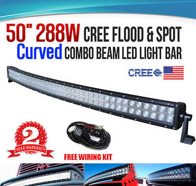 50INCH 288W Curved CREE LED WORK LIGHT BAR FLOOD SPOT COMBO 4WD w/ Wiring Kit