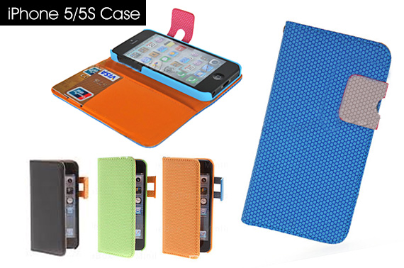 Hives Pattern PU Leather Case with Card Slot and Hang Rope for iPhone 5/5S