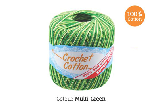 2x 50g Crochet Cotton Ball - MultiGreen