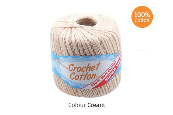 2x 50g Crochet Cotton Ball - Cream
