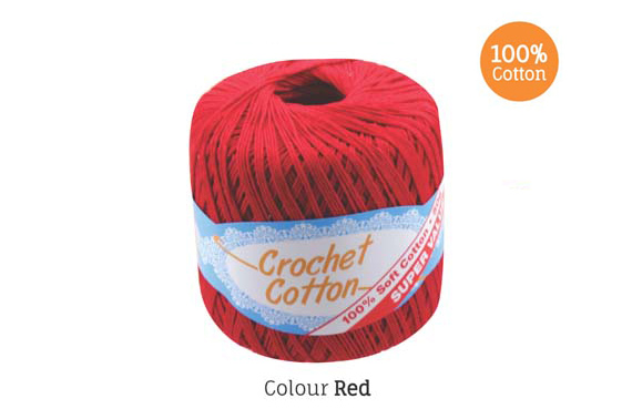 2x 50g Crochet Cotton Ball - Red